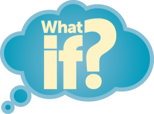 think, cloud,blue,what if, question