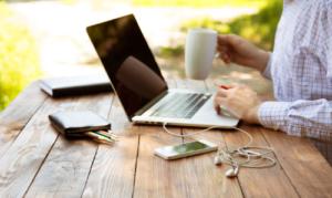 laptop, pc, cellphone, coffee, work