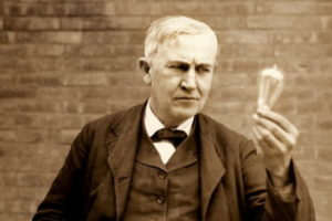 Thomas Edison, electric light bulb, the phonograph, the microphone, talking movies, the storage battery, Optimism